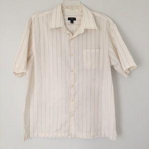 Van Heusen White & Tan Striped Shirt - L